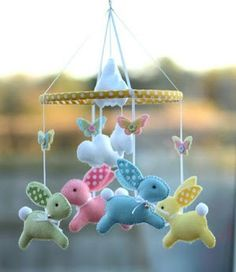 Baby mobile - Bunny mobile - baby gift - multicolor - made .- Bebé móvil – Bunny móvil – bebé regalo – multicolor – hecho a la medida Baby mobile – Bunny mobile – baby gift – multicolor – custom made, of the blue part # - Baby Crafts, Felt Crafts, Easter Crafts, Diy And Crafts, Baby Bunnies, Easter Bunny, Baby Crib Mobile, Hanging Mobile, Felt Toys