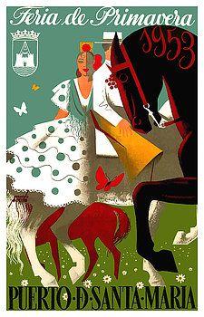 "Spain 1953 Puerto de Santa Maria Spring Fair Poster, ""spring fair"",andalusia,puerto santa maria,spain,flamenco,""poster art"",""vintage poster"",festival,carnival,andalusia, easter, fiesta, sevillana, tapas,spanish travel,tourism,feria,semana santa,fiesta,spring,equestrian,andalusian poster"