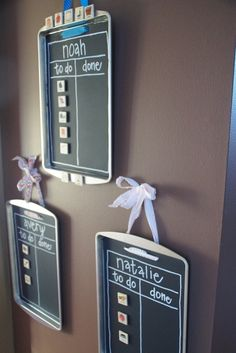 Chore chart - cookie trays, painted with chalk board paint, use magnets for chores in 'to do' and 'done' columns. Use hot glue gun to secure ribbon on the back and hang on the wall!