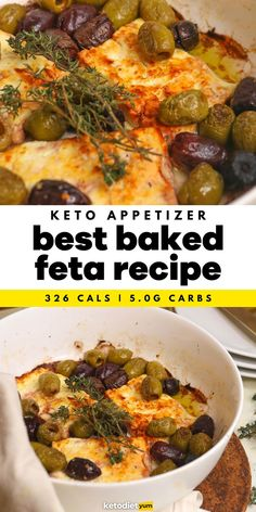 Best Baked Feta Appetizer Recipe - A simple creamy and delicious baked feta recipe with olives, thyme and drizzled with olive oil. Super easy to make and delicious with homemade crackers or keto bread!