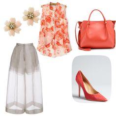 Orange blossom by osrodzari on Polyvore featuring polyvore fashion style Delpozo Salvatore Ferragamo Nina Ricci