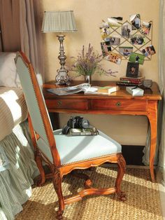 A writing desk beside the bed is a smart way to utilize space. Not only is it large enough to store your lamp, books and alarm clock, but it also provides a private spot to write letters or work from home.