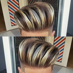 Haircut and style by Mens Hair Colour, Cool Hair Color, Hot Hair Styles, Hair And Beard Styles, Hairstyles Haircuts, Cool Hairstyles, Classic Hairstyles, Boys Colored Hair, Dyed Hair Men