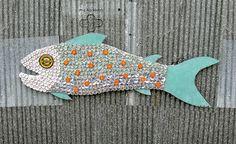bottle cap mosaic fish