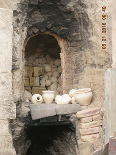 Kiln entry to hand crafted pottery.