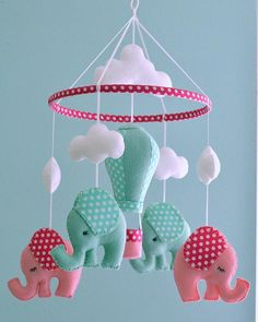 Nursery Baby Elephant Mobile / Hot Air Balloon Mobile/ Pink hot Pink Nursery Mobile - Elephant Baby Mobile - Hot Air Balloon - Made To Order Baby Crafts, Felt Crafts, Diy And Crafts, Felt Mobile, Baby Mobile, Elephant Mobile, Baby Car Mirror, Mint Nursery, Hanging Mobile