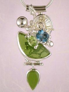 Blue Topaz Jewelry, Peridot Jewelry, Designer Jewelry, Art Jewelry, Handmade jewelry
