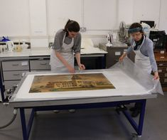 Decisions and Methods: Washing a 19th-Century Oversized Watercolour   The Book & Paper Gathering Green Watercolor, Watercolour, Building Columns, Camberwell College Of Arts, Gum Arabic, Neo Victorian, Seascape Paintings, World Heritage Sites, Conservation