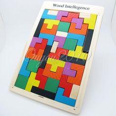 Wooden Tangram Brain Teaser Puzzle Tetris Game Preschool Children Play Wood Toy