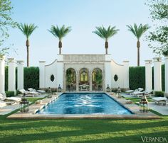 Pool Envy: Richard Hallberg designed pool in Veranda Outdoor Rooms, Outdoor Living, Veranda Magazine, Spanish Design, Spanish Style, Pool Cabana, Desert Homes, Beautiful Pools, Beautiful Gardens