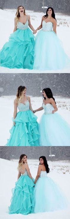 long prom dresses, 2018 prom dresses, straps v neck beaded blue long prom dresses party dresses ball gown P3213