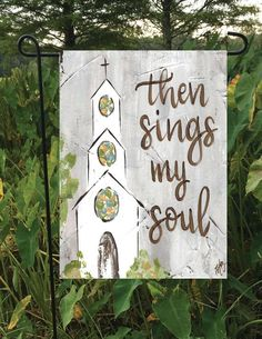 Garden Flag Then Sings My Soul Church Art Church Painting Texture Painting, Painting On Wood, Painting & Drawing, Christian Paintings, Christian Art, Prayer Garden, Religious Paintings, Cross Paintings, Ouvrages D'art