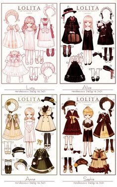 -Lucy -Alice- Anna- Sophie Little Paper Dolls from LOLITA Artist syalgu -Lucy -Alice- Anna- Sophie Little Paper Dolls from LOLITA Artist syalgu The post -Lucy -Alice- Anna- Sophie Little Paper Dolls from LOLITA Artist syalgu appeared first on Paper Ideas. Fashion Design Drawings, Fashion Sketches, Anime Outfits, Cute Outfits, Poses, Mode Lolita, Estilo Lolita, Paper Dolls Printable, Anime Dress