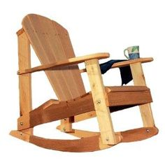 There has been a longstanding controversy on which type of patio chair is more comfortable; the Adirondack chair or the rocking chair. Solve the problem once and for all with this unique Adirondack ro Adirondack Rocking Chair, Rocking Chair Plans, Adirondack Chair Plans, Adirondack Furniture, Rocking Chairs, Pallet Furniture, Furniture Projects, Rustic Furniture, Furniture Design