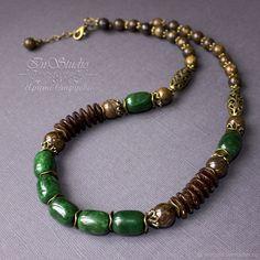 Купить Колье из нефрита, бронзита и кокоса Сарагоса - натуральные камни, колье купить, зеленое колье