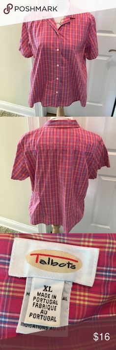 Short Sleeved Pink Plaid Cotton Blouse Short sleeved cotton Blouse in pink Plaid.  Back darts for a flattering fit. Great for work or casual wear.  EUC. Nonsmoking house. Talbots Tops Blouses