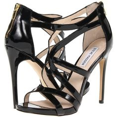 Steve Madden Stella ($65) ❤ liked on Polyvore featuring shoes, sandals, heels, black patent, strappy high heel sandals, black high heel sandals, black heel sandals, platform sandals and black strap sandals