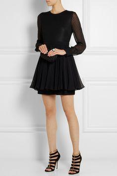 Emanuel Ungaro|Mesh and flocked silk-chiffon mini dress|NET-A-PORTER.COM