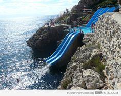 Cliff water slide, Citta del Mare, Italy