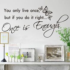 Hatop You only live once Art Vinyl Quote Decal Mural Room Home Wall Sticker Decor ** Find out more about the great product at the image link.