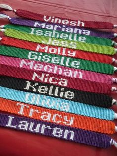 Love the thick letters for these friendship bracelets!: