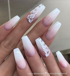 Matte White Nails, White Acrylic Nails, Best Acrylic Nails, Wedding Acrylic Nails, Dark Nails, Pink Gel, Pink Ombre Nails, Bride Nails, Prom Nails