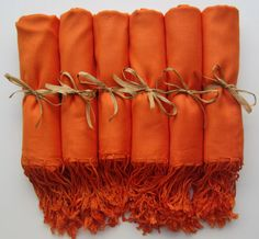 Set of 6 Orange Shawls Pashmina Scarf Wedding Favor by YadisCloset, $57.00