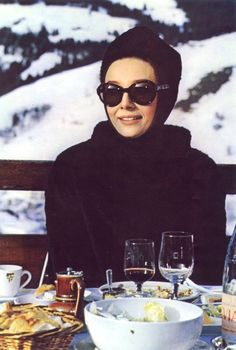 Audrey Hepburn Apres Ski Dining on Terrace of Megeve Ski Resort Mont Blanc French Alps Film Charade 1963 -First Class Lady at a First Class Resort