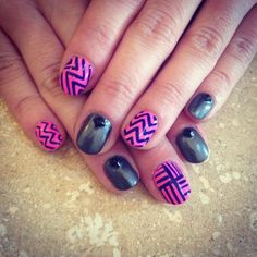 Weekend nailz for Donne. Using ORLY Fancy Fuchsia, Steel Your Heart & a Navy Blue CM Striping polish. (Taken with instagram)