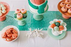 "A fricassee-free dessert spread: | This ""Little Mermaid""-Themed Fantasy Wedding Is A Disney Lover's Dream"