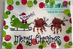 Cookies for Santa! Santa's Sleigh Foot and Hand print platter created at Paint a Piece in Memphis, TN. Christmas Paintings On Canvas, Santa Paintings, Christmas Canvas, Babies First Christmas, Christmas Baby, Country Christmas, Merry Christmas, Christmas Art Projects, Christmas Crafts For Kids