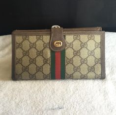 41b9c0a450e5 Gucci Gucci Continental Clutch Wallet GG Monogram Red Green Webbing Gucci  Bags