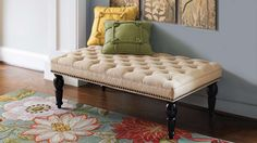 "Chesterfield Tufted Ottoman 249.00 Grandinroad.com 48""w x 28""d x 18""h Natural or Sea Glass"
