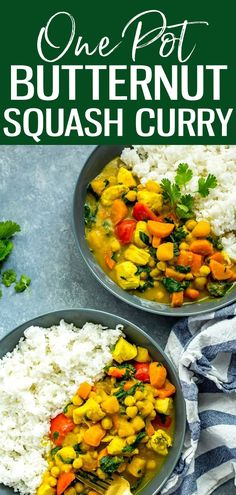ThisOne Pot Butternut Squash Chicken Curry with coconut milk, veggies, chickpeas and rice is protein-filled comfort food at its best! #butternutsquash #onepotcurry