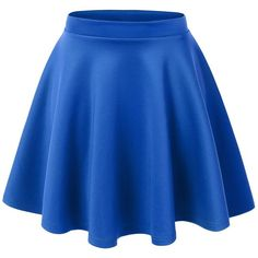 MBJ Womens Basic Versatile Stretchy Flared Skater Skirt ($6.89) ❤ liked on Polyvore featuring skirts, bottoms, flare skirt, flared skirt, blue skirt, stretch skirt i flared hem skirt