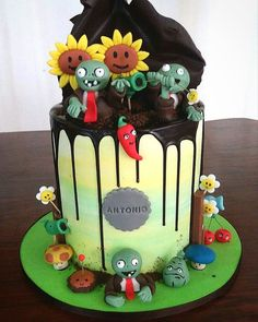Plant vs zombies drip cake