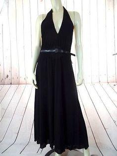 VELVET ANTHROPOLOGIE Halter Dress L NEW Pullover Black Stretch Knit Lined SEXY!