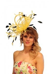 Yellow & Black Large Feather Satin Fascinator Hat ..stunning for a summer wedding