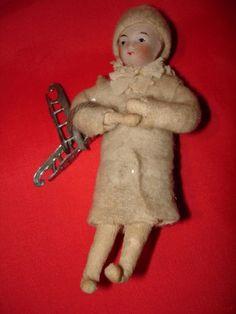 Antique Home Spun Cotton Christmas Snowbaby Ornament w Skates   eBay