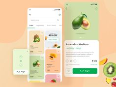 Groceries Shopping Mobile App designed by Kajal Kashyap. Connect with them on Dribbble; the global community for designers and creative professionals. Design Web, Web Design Mobile, Design Food, App Ui Design, User Interface Design, Flat Design, Design Layouts, Graphic Design, Motion Design