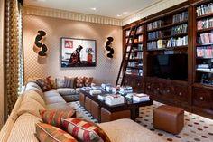 Ottomans under coffee table - Builder's Dream Home - Traditional - Family Room - Philadelphia - E. B. Mahoney Builders, Inc.