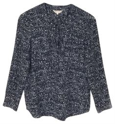 Rebecca Taylor Black and White Ink Dot Double Silk Blouse Size 4 (S) White Ink, Black And White, Tie Bow, Pin Tucks, Rebecca Taylor, Black Tops, High Low, Men Sweater, Dots