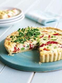 This vegetarian tart recipe combines broad beans with roasted red pepper and an easy-to-make home-made pastry.