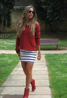 SAILING  , Nice Things in Sweaters, H Divided in Dresses, Bershka in Ankle Boots / Booties