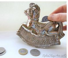 Collectible Horse Piggy Bank Pewter Rocking by EphieKayArtist