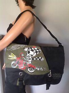 b848e49deaf5 Ed Hardy Christian Audigier Messenger Crossbody Bag Skelton Bike Designer  Fashio