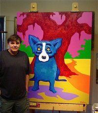 George Rodrique and his Blue Dog. A famous New Orleans artist and iconic image
