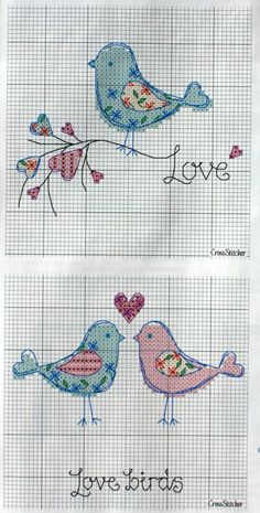 Love birds free cross stitch patterns