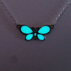 Aqua Glowing Necklace, Glowing Jewelry,  Glow in the Dark Butterfly, Glow Pendant , Gift for Her, Gift ideas - pinned by pin4etsy.com