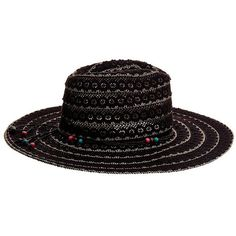 Betsey Johnson Lacework Panama Hat ($36) ❤ liked on Polyvore featuring accessories, hats, black, brim sun hat, brimmed hat, sun hat, betsey johnson and lace hat